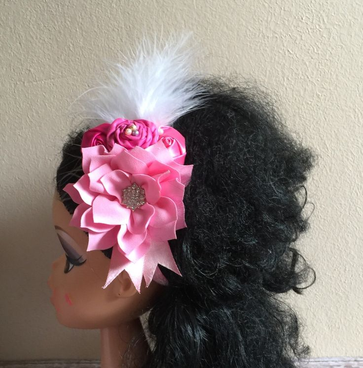 Rose Pink Flower Headband, Newborn ,Infant , Baby, Baby Girl, Toddler and Adult Headband, Feather Headband, Rosette Headband, Photo Prop by SundayChildBoutique on Etsy https://www.etsy.com/listing/258275437/rose-pink-flower-headband-newborn-infant