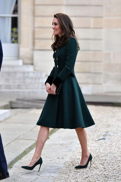 Catherine, Duchess of Cambridge arrives for a meeting with French President Francois Hollande at the Elysee Palace during day one of a visit on March 17, 2017 in Paris, France.