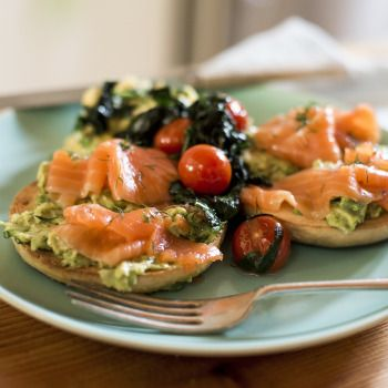 Smoked Salmon Bagel, Crushed Avocado, Tomatoes, Spinach and Scrambled Egg