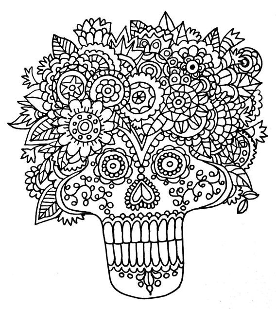 170 best Sugar Skull Coloring Pages images on Pinterest Sugar
