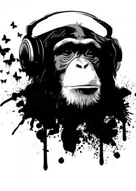 monkey chimp chimpanzee music dj headphones spatter graffiti butterflies butterfly