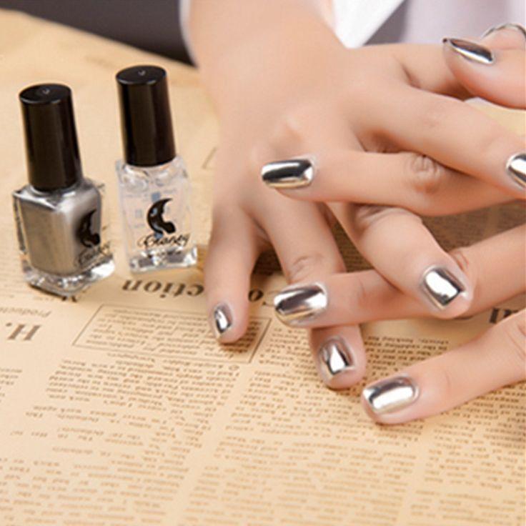 2Pcs/Set 6ML Metallic Mirror Effect Metal Silver Nail Polish Varnish +6ML Top Coat