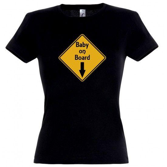 Baby On Board mintás női póló fekete színben