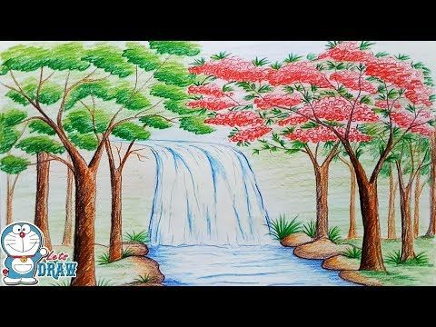 How to draw scenery of Stream waterfall step by step - YouTube