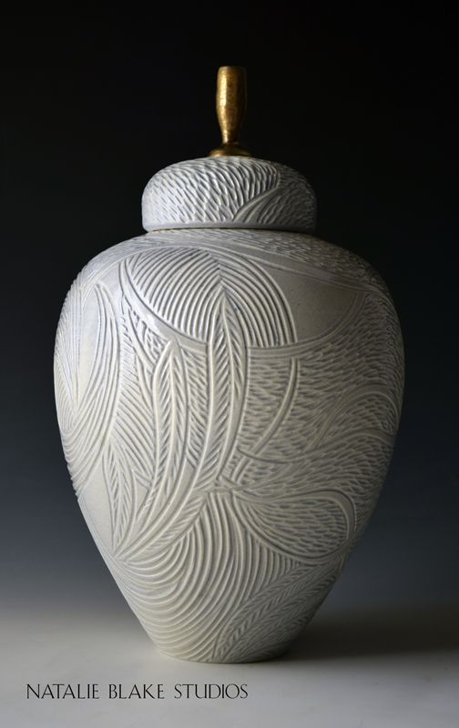 Beautiful feather carved handmade porcelain memorial cremation urn from Natalie Blake Studios in Brattleboro, VT ~ Custom orders welcomed ~ Design a glorious piece of art for your loved one.
