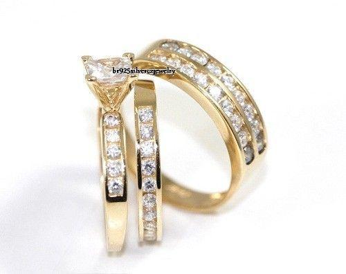His & Her Matching 14k Yellow Gold Diamond Trio Set Engagement Ring Wedding Band #br925Silverczjewelry #EngagementWeddingAnniversaryPartyDailyWear