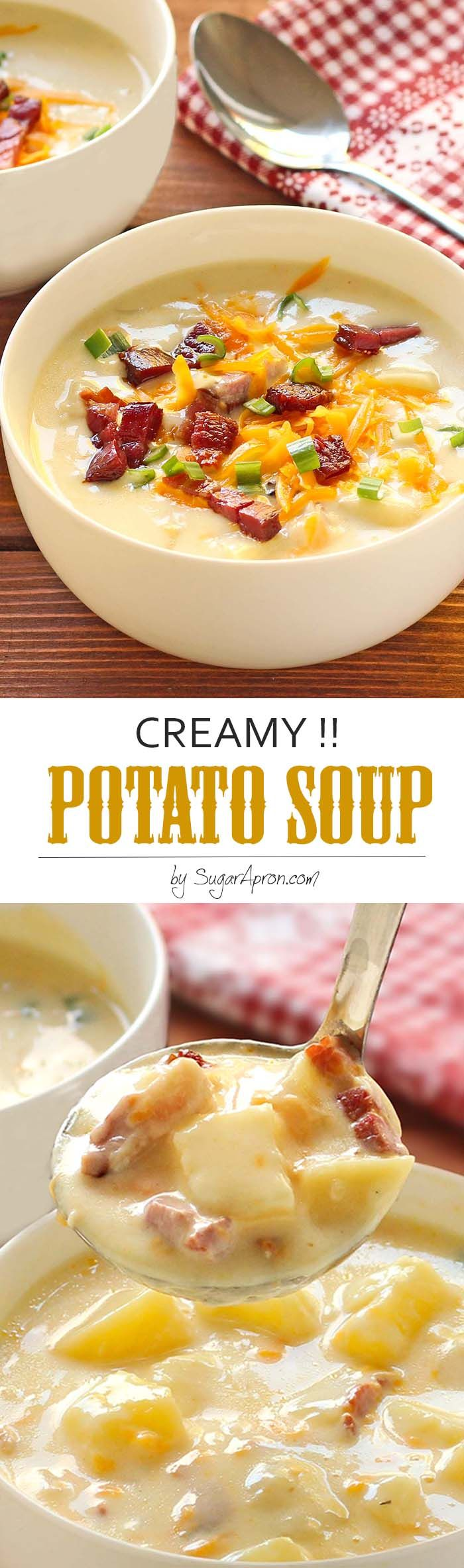 Creamy Potato Soup - The ultimate in comfort foods. Thick, rich, creamy potato soup that's ready in less than an hour, any night you want it. YES. Sure to warm your heart from the inside on even the coldest winter night.