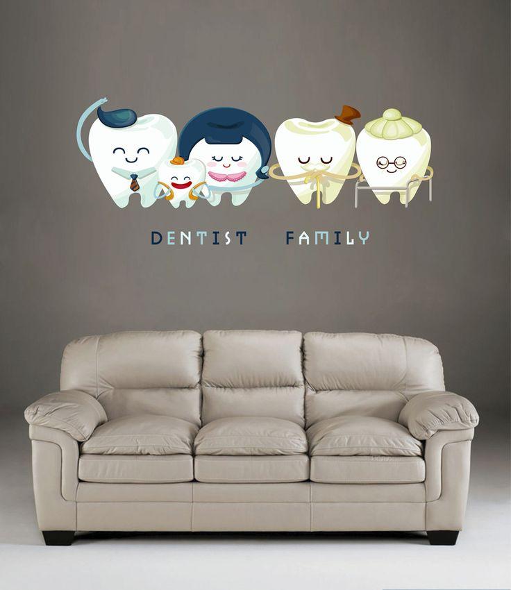 cik513 Full Color Wall decal Teeth Family Dentist dental hospital clinic