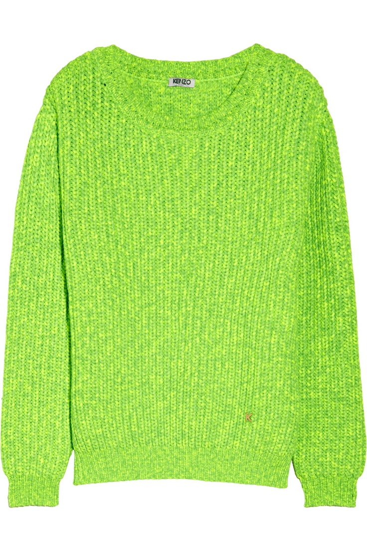 KENZO|Neon chunky-knit sweater|NET-A-PORTER.COM