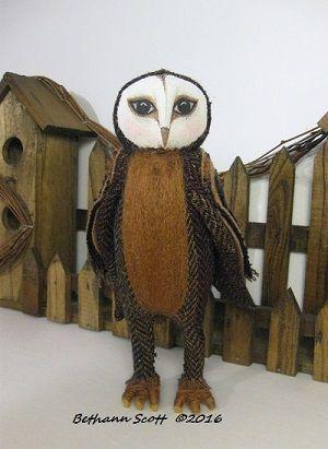 Textile Owl Doll  by Bethann Scott ©2016