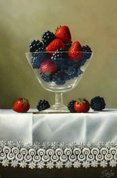 Johan de Fre (b.1952 ) — Strawberries and Blackberries (471x715)