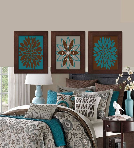 Wall Art Teal Brown Dahlia Flower Bloom Bedroom Bathroom Decor Modern Abstract Floral Flourish Artwork Set