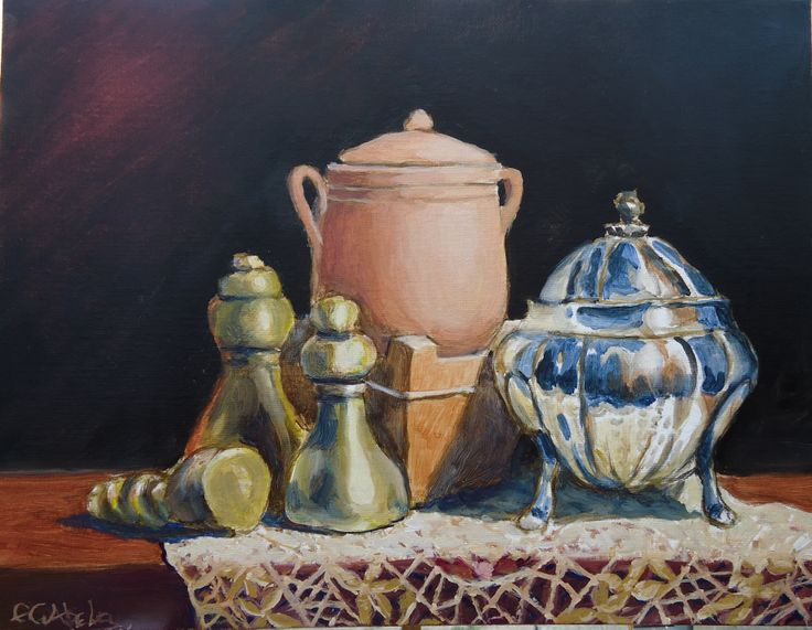 "Original oil painting of Maltese Objects 11"" x 14'"