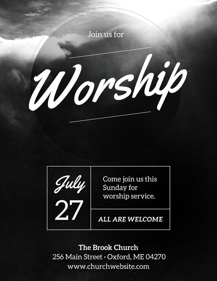 diy church event flyer template - heavenly worship