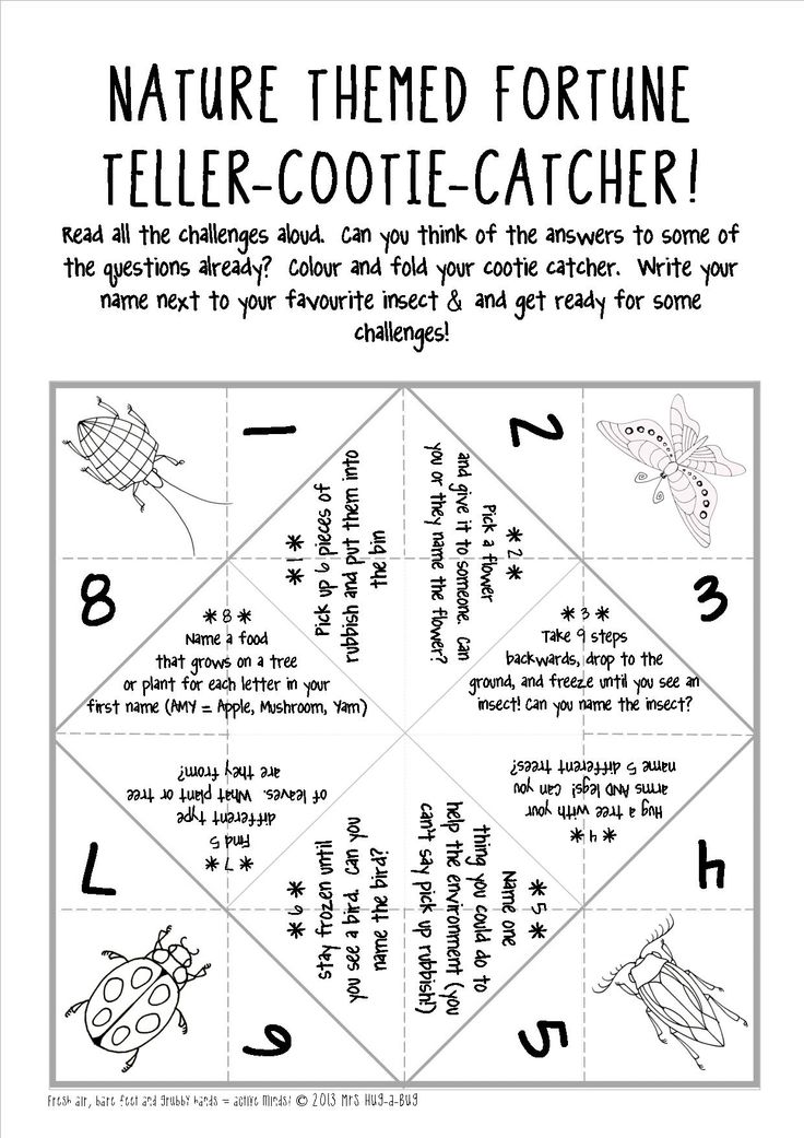 ~FREE PRINTABLE~ A great outdoor ice breaker activity to get your kids discussing, sharing and doing!  Nature themed fortune-teller-cootie-catcher!