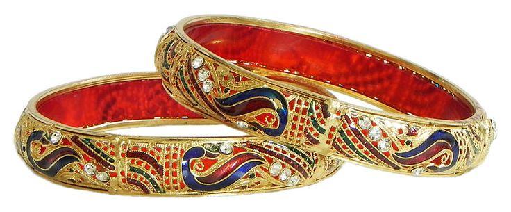Pair of Gold Plated Meenakari Bangles (Metal)