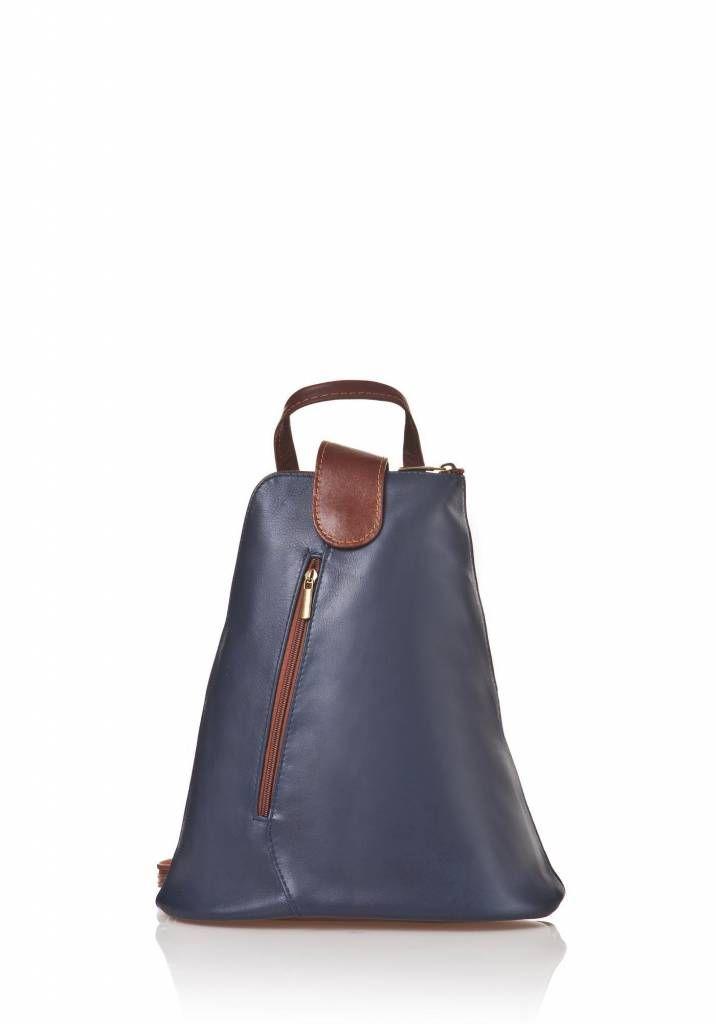 - Trendy rugzak van kalfsleder in donker blauw bruine kleuren