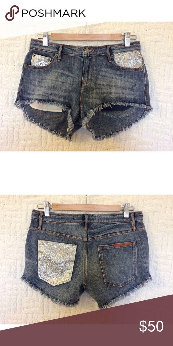 Sass & Bide Sparkle Shorts Sass & Bide glitter sparkle denim jean shorts size 26.  In good condition.  No trades / modeling.  {closet4} sass & bide Shorts Jean Shorts