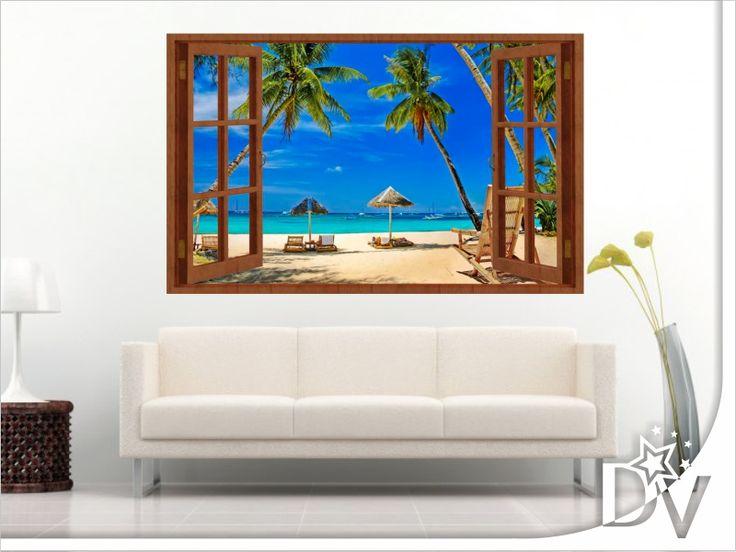 Ezzel az ablakos falmatricával a tengerparton érezheti magát egész évben!  https://www.dekor-varazs.hu/termekek/szines-falmatricak-ablak-a-vilagra