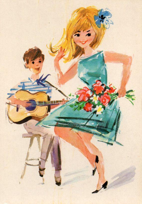 Vintage  Postcard  60s teenagers