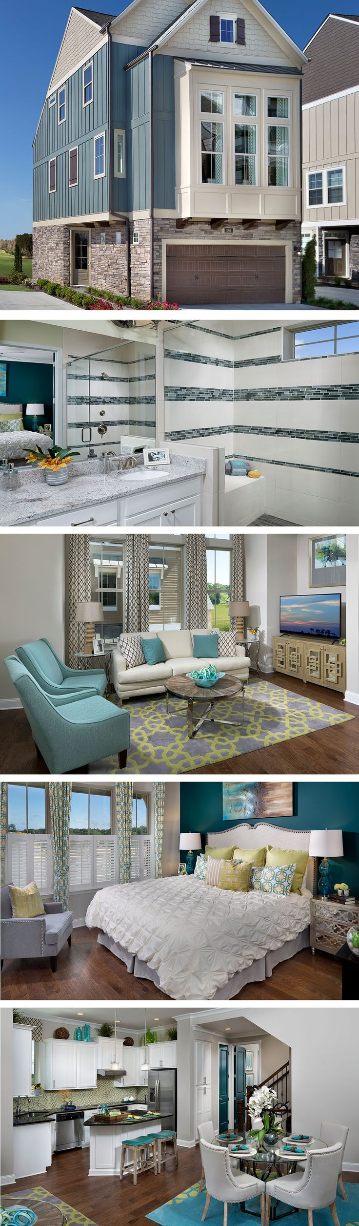 The Bellbrook by David Weekley Homes in The Village of Belmont Commons features an open style kitchen, dining and family room. The floor plan features 3 stories, a 2 car garage and the options for 2-3 bedrooms and bathrooms.
