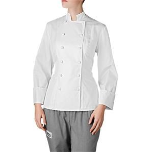 With its flattering fit and cut, this semi-cropped chef jacket is the one you'll reach for time and time again. Made of 100 percent Pima cotton, our Nouveaux chef coat for women is the best selling women's chef coat on our line. The chef coat's cut makes it a first choice for women to complete their chef uniforms. Available only in white. $65.95