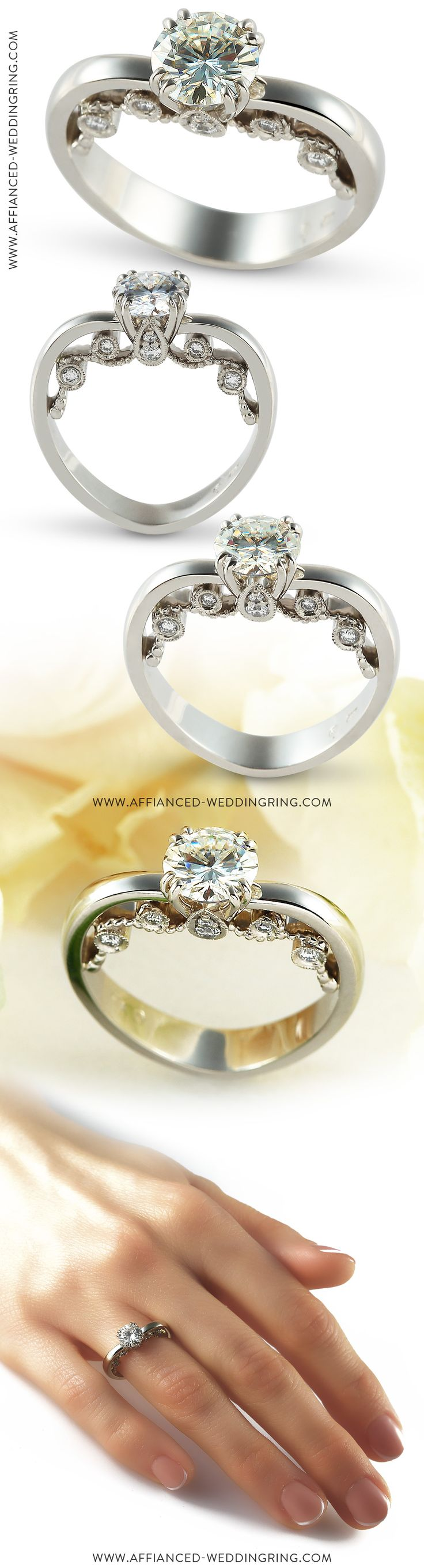 Elegant white gold engagement ring decorated with center 1 ct diamond and 12 pcs small diamonds.
