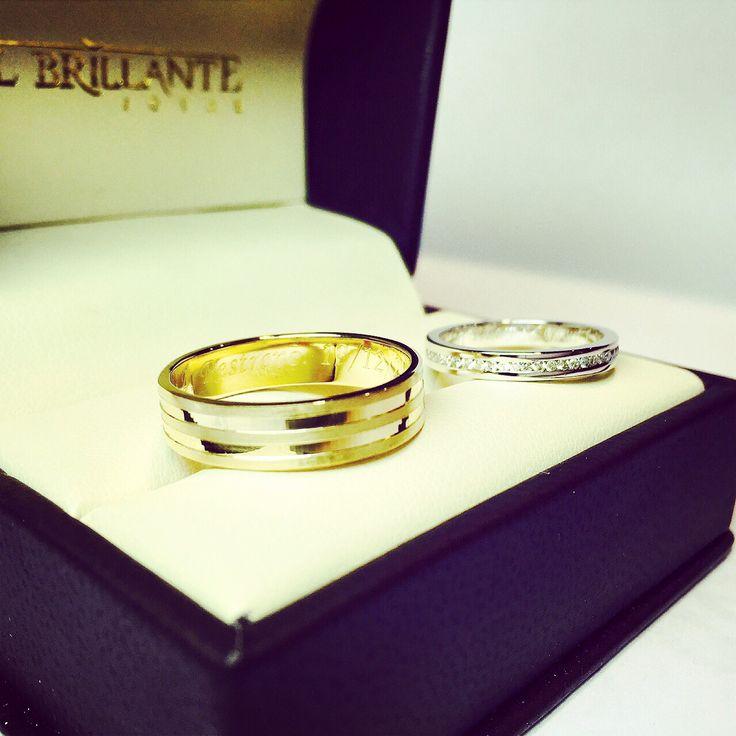Argollas de matrimonio en oro blanco , amarillo y diamantes    www.elbrillantejoyeria.com.co