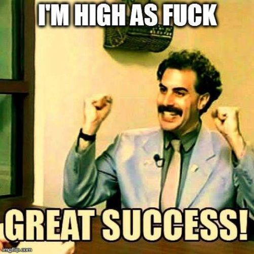 I'm high as fuck! GREAT SUCCESS! #420 #meme #420meme