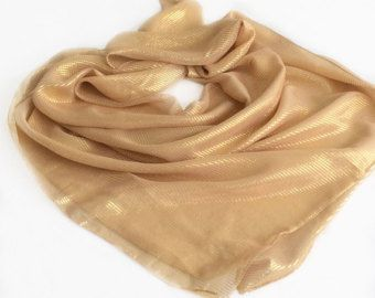 Gold Scarf, Antique Yellow Silk Scarf, Gift for Wife, Birthday Gift for Mother in law Sparkly Gift for Friend, Chemo Head Scarf Striped by blingscarves. Explore more products on http://blingscarves.etsy.com