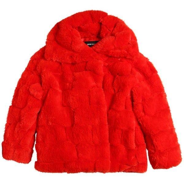 Diesel Kids Kids-girls Faux Fur Coat ($230) ❤ liked on Polyvore featuring orange