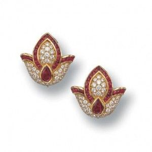 Tulips - Exquisite tulips, studded with rubies and diamonds forms a classic pair of ear studs, handcrafted in 18k yellow gold.