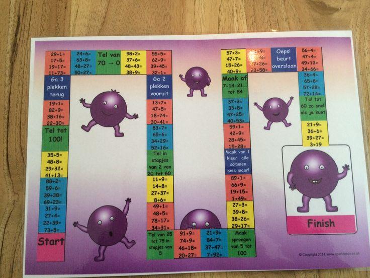 Rekenspellen om te oefenen met +  sommen tot 100. Heb ook andere spellen! Te spelen met 1 tot 4 spelers, je hebt een dobbelsteen nodig en pionnetjes of iets dergelijks. Gooien, sommetjes maken en ... de volgende is aan de beurt! Het lege spelbord heb ik gevonden op www.sparklebox.co.uk, de inhoud heb ik zelf gemaakt. Het bestand is op A4 formaat even lamineren en spelen maar! Interesse? Stuur me een mailtje (jufhesterindeklas@gmail.com) en ik mail je de gevraagde bestanden toe!