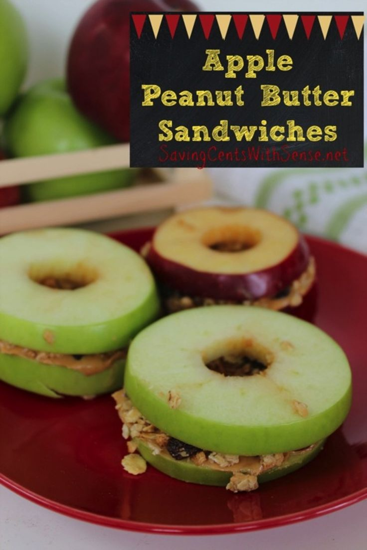 Apple Peanut Butter Sandwiches http://www.savingcentswithsense.net/2014/08/apple-peanut-butter-sandwiches/