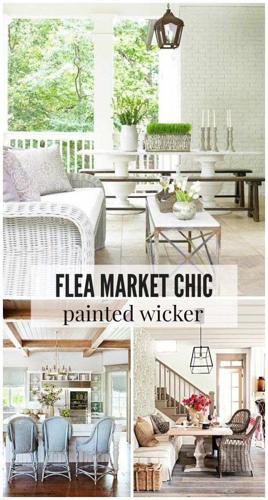 Wicker furniture is a great way to get that trendy flea market chic look in your patio, kitchen or living room. Painted wicker is a great way to add a splash of color to these upcycled furniture pieces. Repurpose your old wicker lawn furniture or pick some up at a garage sale and turn them into shabby chic pieces for indoors or outdoors.