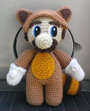Raccoon Mario - Free Amigurumi Pattern here: https://sites.google.com/site/crochetgoods/home/raccoon-mario