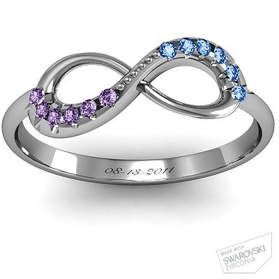 Infinity Accent Ring - His and Her birthstones with wedding date :)