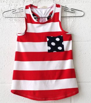 Kid's Polka Dots Pocket Striped Tank Top with Bow Back