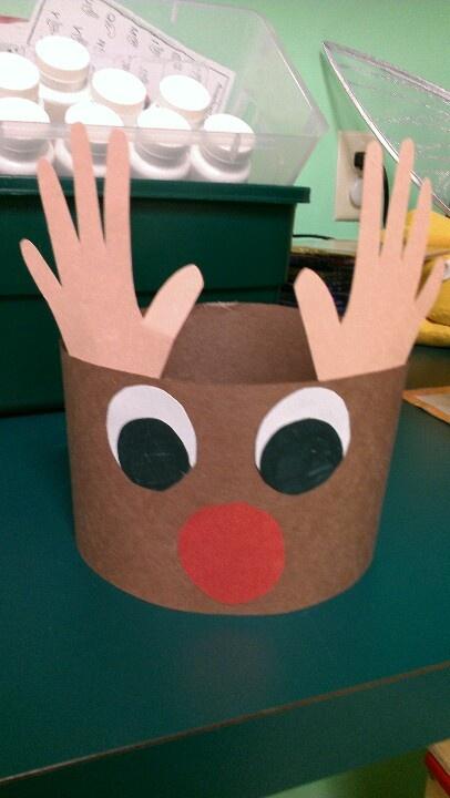 Rudolph headbands using children 39 s handprints for reindeer for Reindeer antlers headband craft