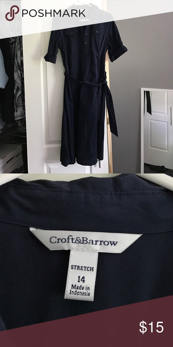 Croft and Barrow Size 14 dress Navy blue dress shirt dress with roll sleeves! Perfect for summer/falls. Has stretchy back, but true to size for a great fit. Comes with belt to match. Make an offer! croft & barrow Dresses Midi