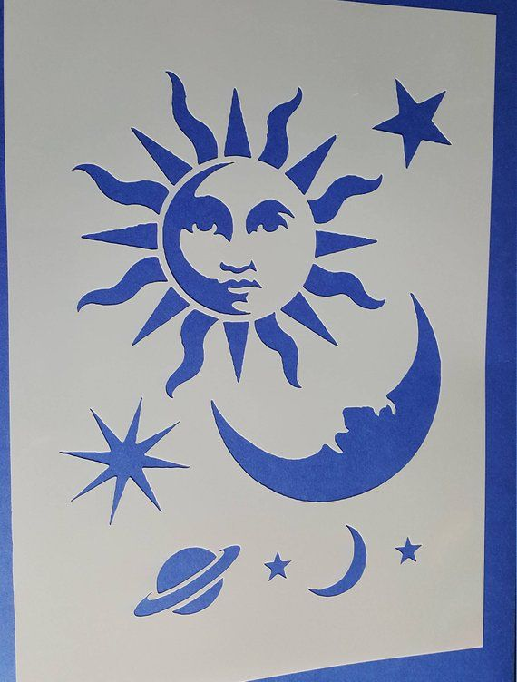 Stencils Sun Moon Star Wall Decals Airbrush Canvas Textile Design