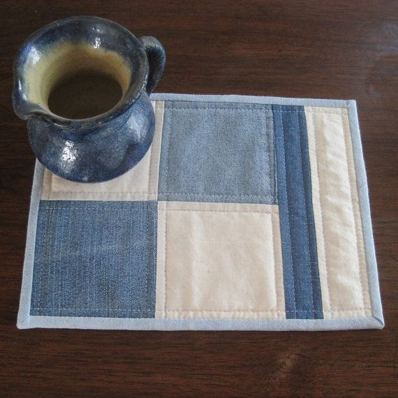 Denim and muslin mug rug quilted by countrybydesign on Etsy, $9.50