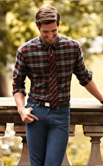 Plaid and denim dressed up with a tie