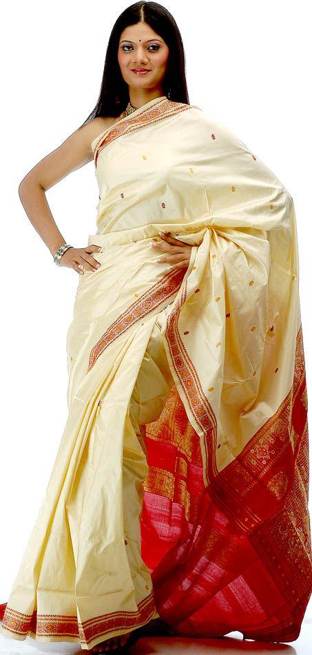 Ivory and Maroon Bomkai Sari Hand-Woven in Orissa