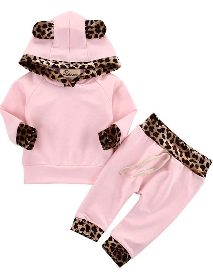"""A beautiful pink leopard set she'll be comfortable in all day. It's easy to dress her in this outfit and she'll want to wear it all day because it's so comfy and warm. Fits true to size. Order up for growth. Made of soft cotton material. Set includes pants and top. Our customers are the best! """"Ordered an outfit for my daughter and it arrived so quick! Excellent customer service as well! Will absolutely continue shopping with this boutique for all of our children's wardrobes!"""" -Ash in TX Gucci Baby Clothes, Girls Fashion Clothes, Toddler Fashion, Fashion Outfits, Girl Clothing, Clothing Sets, Baby Outfits, Kids Outfits, Batman Outfits"""