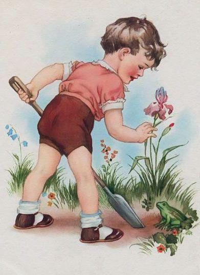ArtbyJean - Vintage Gardening Boy