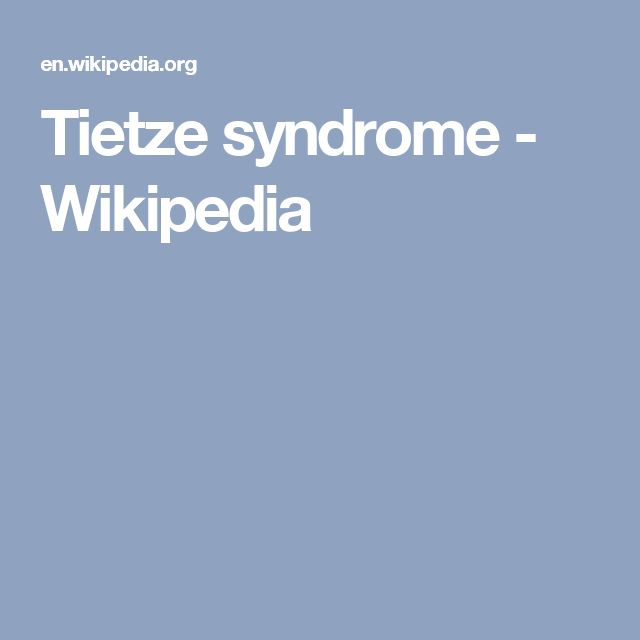 Tietze syndrome - Wikipedia