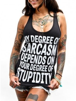 "Women's ""Degree of Sarcasm"" Racerback Tank by Glitz Apparel (Black)"