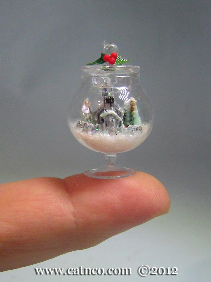 Glitter House set in a 1/12th doll house candy jar  Merle Mather  www.catnco.com
