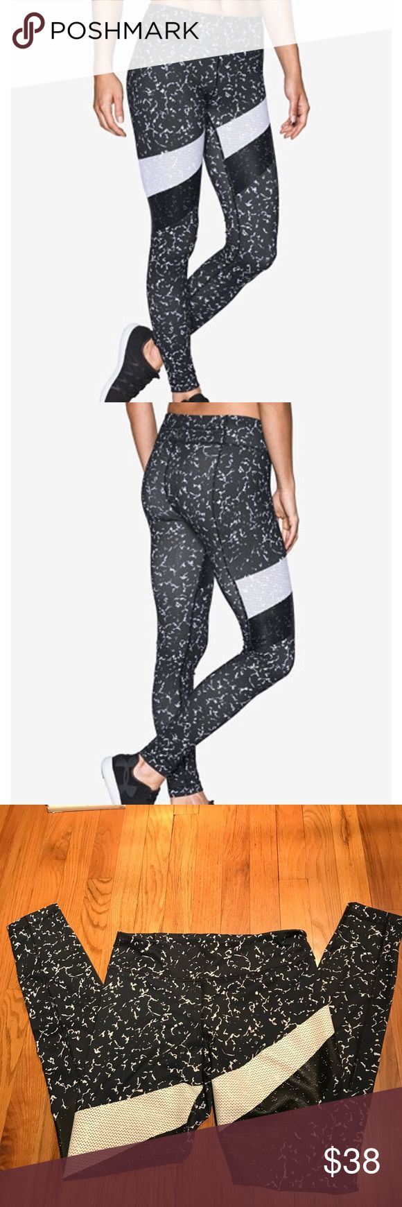 Under Armour Leggings StudioLux soft and supportive leggings. Stripes across legs have a rubber-like feel. High rise, skinny fit through hips and thighs. Hidden pocket in waist band. Inseam is 29 inches. Under Armour Pants Leggings